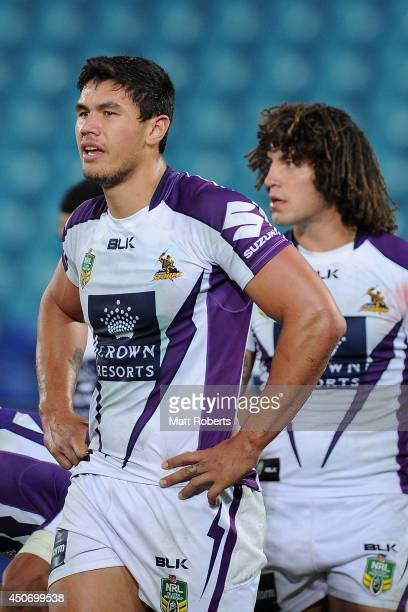 Jordan McLean of the Storm looks on during the round 14 NRL match between the Gold Coast Titans and the Melbourne Storm at Cbus Super Stadium on June...