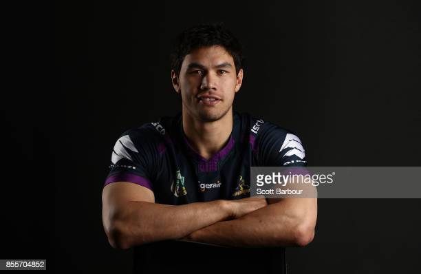Jordan McLean of the Storm poses during a Melbourne Storm NRL training session at Gosch's Paddock on September 25 2017 in Melbourne Australia
