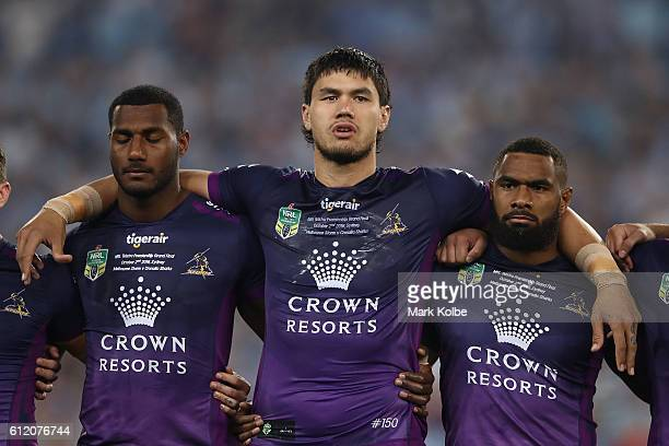 Jordan McLean of the Storm sings the national anthem before the 2016 NRL Grand Final match between the Cronulla Sharks and the Melbourne Storm at ANZ...