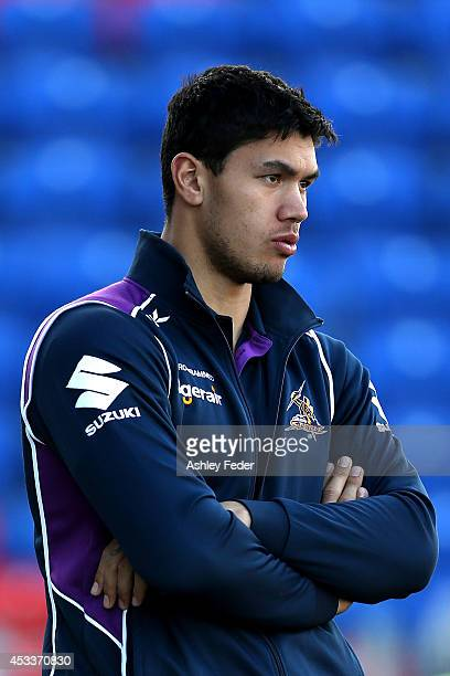 Jordan McLean of the Storm watches on before the round 22 NRL match between the Newcastle Knights and the Melbourne Storm at Hunter Stadium on August...