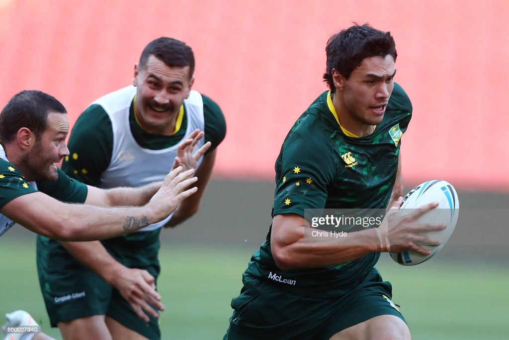 Jordan McLean runs the ball during an Australian Kangaroos Rugby League World Cup training session at Suncorp Stadium on October 11, 2017 in Brisbane, Australia.
