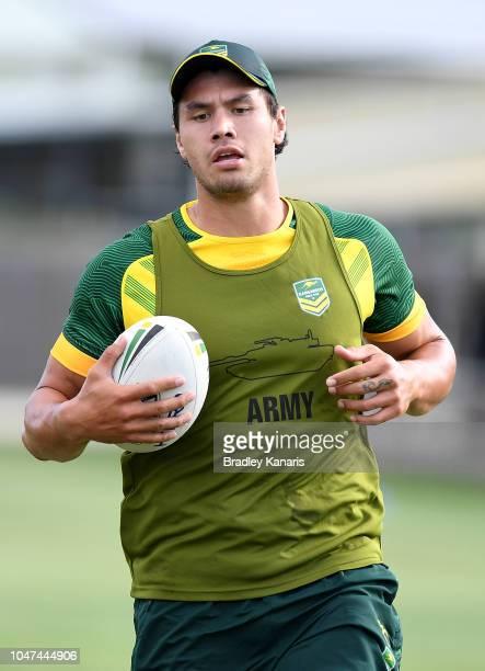 Jordan McLean runs with the ball during an Australian Kangaroos training session at Carina Juniors on October 8 2018 in Brisbane Australia