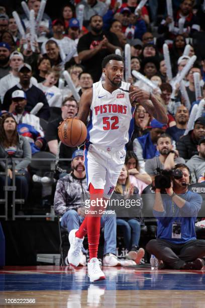 Jordan Mcrae handles the ball against the Oklahoma City Thunder on March 4 2020 at Little Caesars Arena in Detroit Michigan NOTE TO USER User...
