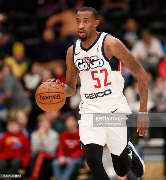 Jordan McRae of the Capital City GoGo brings the ball up court against the Wisconsin Herd during the third quarter of an NBA GLeague game on November...
