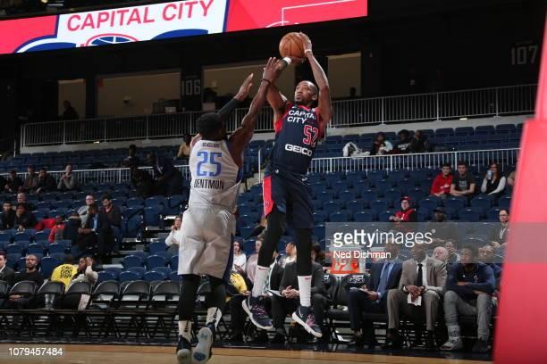 Jordan McRae of the Capital City GoGo goes up for a shot against Justin Dentmon of the Texas Legends during an NBA GLeague game at the Entertainment...