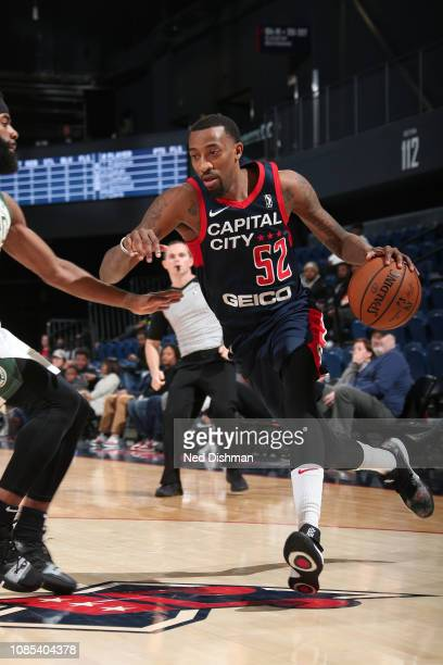Jordan McRae of the Capital City GoGo handles the ball against the Wisconsin Herd during the NBA G League on January 19 2019 at the Entertainment...