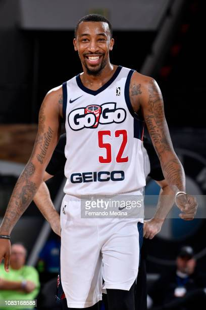 Jordan McRae of the Capital City GoGo reacts to a play against the Lakeland Magic during the NBA G League on January 15 2019 at RP Funding Center in...