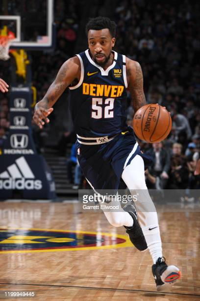 Jordan McRae of the Denver Nuggets drives to the basket against the San Antonio Spurs on February 10 2020 at the Pepsi Center in Denver Colorado NOTE...