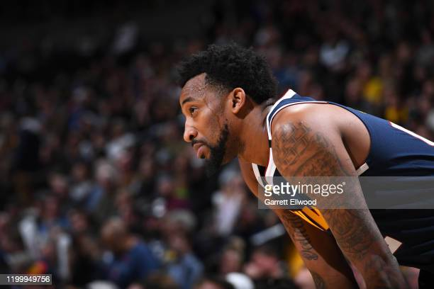 Jordan McRae of the Denver Nuggets looks on during the game against the San Antonio Spurs on February 10 2020 at the Pepsi Center in Denver Colorado...