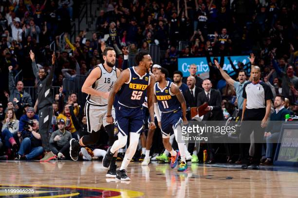Jordan McRae of the Denver Nuggets reacts to a play during a game against the San Antonio Spurs on February 10 2020 at the Pepsi Center in Denver...
