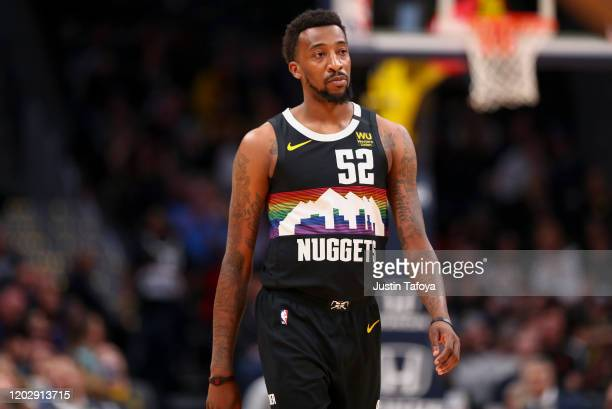 Jordan McRae of the Denver Nuggets walks on the court as they take on the Minnesota Timberwolves at Pepsi Center on February 23 2020 in Denver...