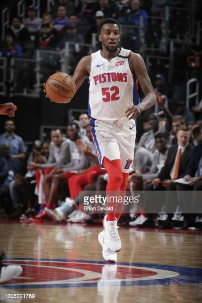 Jordan Mcrae of the Detroit Pistons handles the ball against the Oklahoma City Thunder on March 4 2020 at Little Caesars Arena in Detroit Michigan...