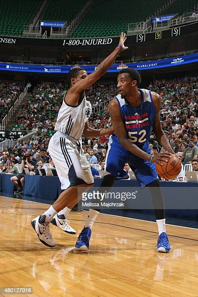 Jordan McRae of the Philadelphia 76ers handles the ball against the Utah Jazz during the NBA Summer League on July 9 2015 at EnergySolutions Arena in...