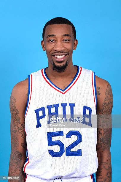 Jordan McRae of the Philadelphia 76ers poses for a photo during media day on September 28 2015 in Galloway New Jersey NOTE TO USER User expressly...