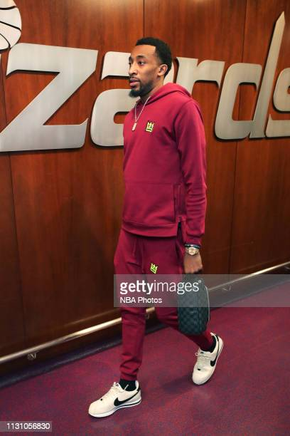Jordan McRae of the Washington Wizards arrives before the game against the Memphis Grizzlies on March 16 2019 at Capital One Arena in Washington DC...