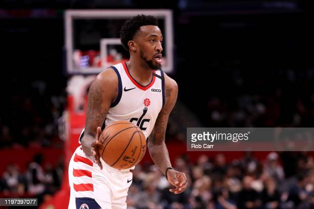 Jordan McRae of the Washington Wizards dribbles the ball against the Portland Trail Blazers in the second half at Capital One Arena on January 03...
