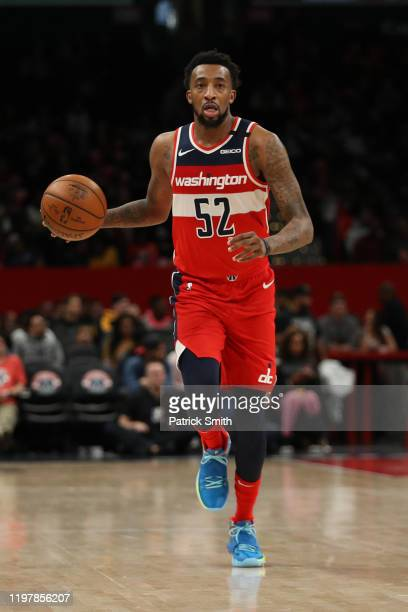 Jordan McRae of the Washington Wizards dribbles the ball against the Denver Nuggets during the second half at Capital One Arena on January 04 2020 in...