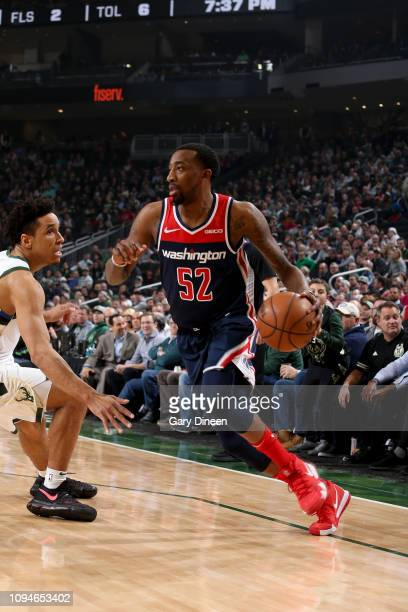 Jordan McRae of the Washington Wizards handles the ball during the game against the Milwaukee Bucks on February 6 2019 at the Fiserv Forum Center in...