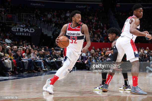 Jordan McRae of the Washington Wizards handles the ball during the game against the Atlanta Hawks on January 10 2020 at Capital One Arena in...