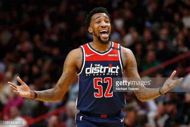 Jordan McRae of the Washington Wizards reacts against the Miami Heat during the second half at American Airlines Arena on January 22 2020 in Miami...