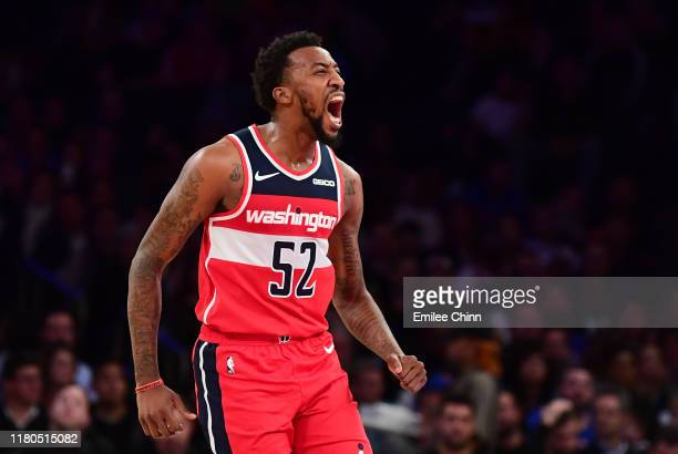 Jordan McRae of the Washington Wizards reacts during the second quarter of their game against the New York Knicks at Madison Square Garden on October...