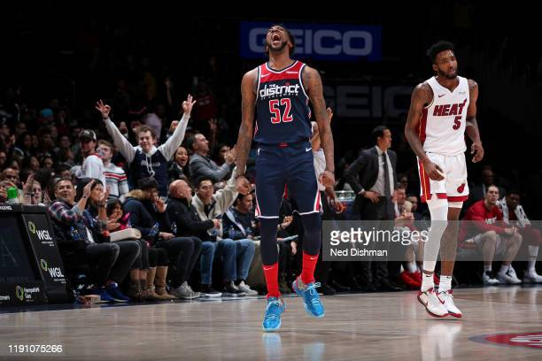 Jordan McRae of the Washington Wizards reacts to a play against the Miami Heat on December 30 2019 at Capital One Arena in Washington DC NOTE TO USER...