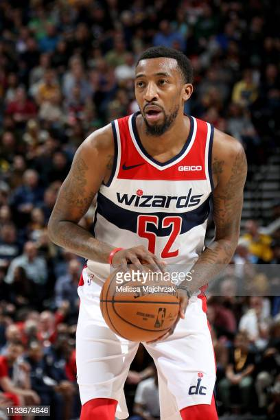 Jordan McRae of the Washington Wizards shoots a free throw during the game against the Utah Jazz on March 29 2019 at vivintSmartHome Arena in Salt...