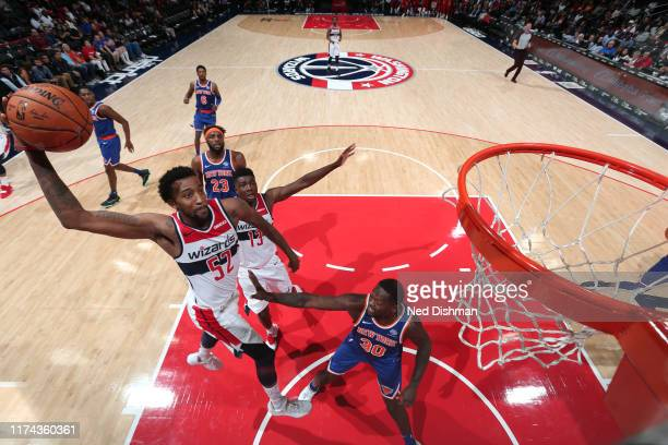 Jordan McRae of Washington Wizards dunks the ball against the New York Knicks during preseason on October 7 2019 at Capital One Arena in Washington...