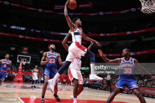 Jordan McRae of Washington Wizards dunks the ball against the New York Knicks during the preseason on October 7 2019 at Capital One Arena in...