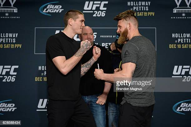 Jordan Mein and Emil Meek face off during the UFC 206 Ultimate Media Day event inside the Westin Harbour Castle Hotel on December 8, 2016 in Toronto,...