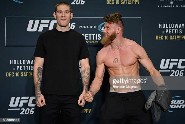 Jordan Mein and Emil Meek pose for a picture during the UFC 206 Ultimate Media Day event inside the Westin Harbour Castle Hotel on December 8, 2016...