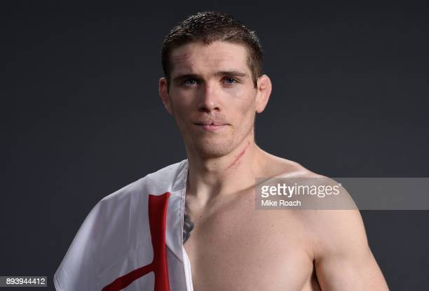 Jordan Mein of Canada poses for a post fight portrait backstage during the UFC Fight Night event at Bell MTS Place on December 16 2017 in Winnipeg...