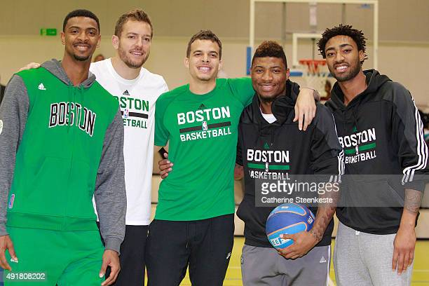 Jordan Mickey David Lee RJ Hunter Marcus Smart and James Young of the Boston Celtics pose for a portrait during the NBA Cares Special Olympics...