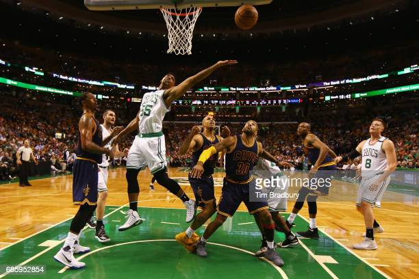 Jordan Mickey of the Boston Celtics battles for a rebound in the second half against the Cleveland Cavaliers during Game Two of the 2017 NBA Eastern...