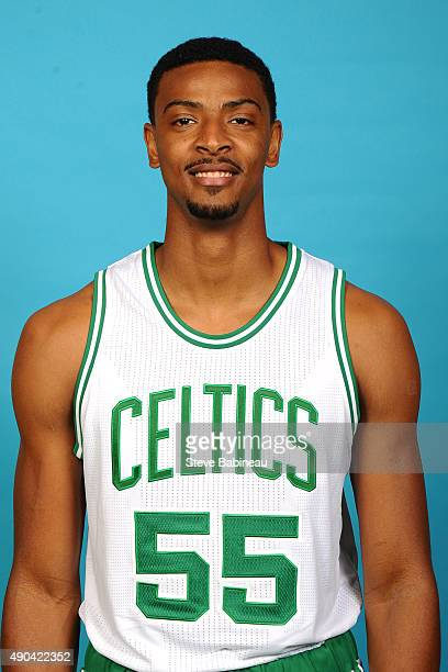 Jordan Mickey of the Boston Celtics poses for media day on September 25 2015 at the Boston Celtics Training Center in Waltham Massachusetts NOTE TO...