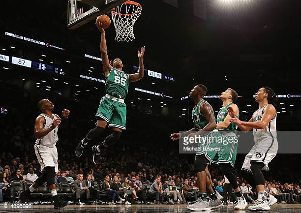Jordan Mickey of the Boston Celtics puts up a layup in the second half of preseason game against the Brooklyn Nets at Barclays Center on October 13...