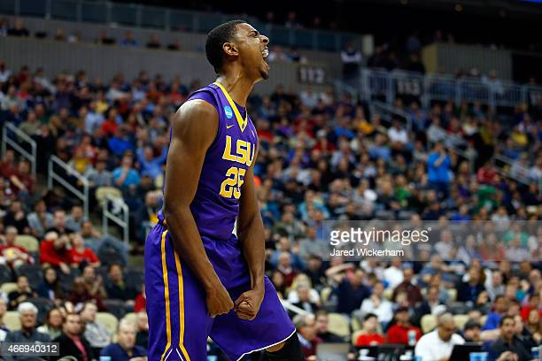 Jordan Mickey of the LSU Tigers reacts after a play against the North Carolina State Wolfpack during the second round of the 2015 NCAA Men's...