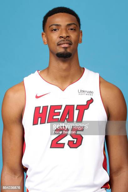 Jordan Mickey of the Miami Heat poses for a head shot at American Airlines Arena in Miami Florida on September 25 2017 NOTE TO USER User expressly...
