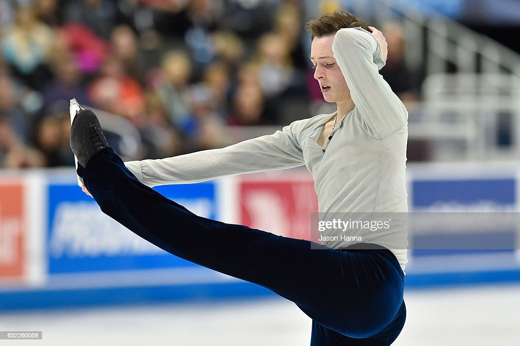 Jordan Moeller performs during the mens short routine championship on Day 2 at the 2017 US Figure Skating Championships on January 20, 2017 at the Sprint Center in Kansas City, Missouri.