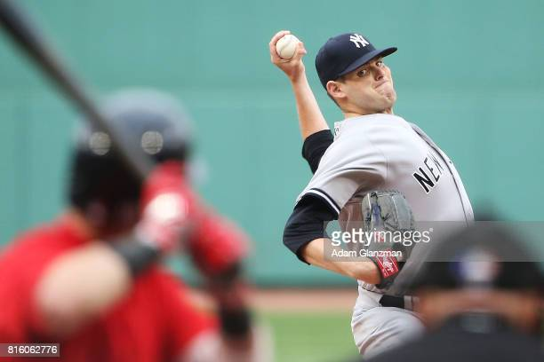 Jordan Montgomery of the New York Yankees delivers in the first inning of a game against the Boston Red Sox at Fenway Park on July 14 2017 in Boston...