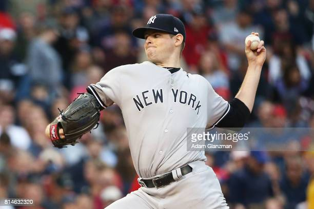 Jordan Montgomery of the New York Yankees delivers in the second inning of a game against the Boston Red Sox at Fenway Park on July 14 2017 in Boston...