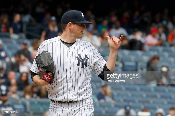 Jordan Montgomery of the New York Yankees gestures on the mound in his first MLB baseball game against the Tampa Bay Rays on April 12 2017 at Yankee...