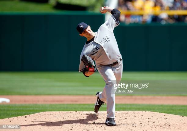 Jordan Montgomery of the New York Yankees in action against the Pittsburgh Pirates at PNC Park on April 23 2017 in Pittsburgh Pennsylvania