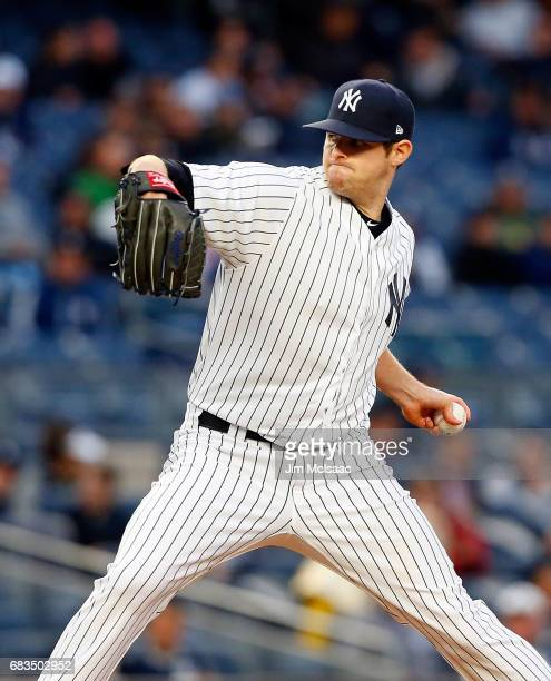 Jordan Montgomery of the New York Yankees in action against the Houston Astros at Yankee Stadium on May 12 2017 in the Bronx borough of New York City...