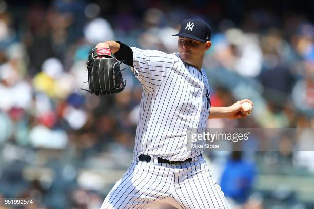 Jordan Montgomery of the New York Yankees in action against the Minnesota Twins at Yankee Stadium on April 26 2018 in the Bronx borough of New York...