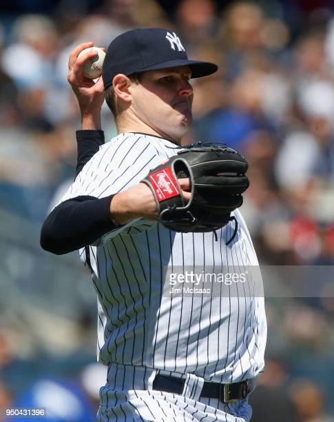 Jordan Montgomery of the New York Yankees in action against the Toronto Blue Jays at Yankee Stadium on April 21 2018 in the Bronx borough of New York...