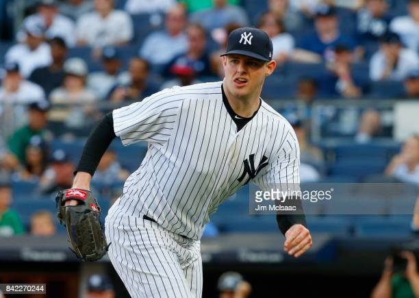 Jordan Montgomery of the New York Yankees in action against the Cleveland Indians in the second game of a doubleheader at Yankee Stadium on August 30...