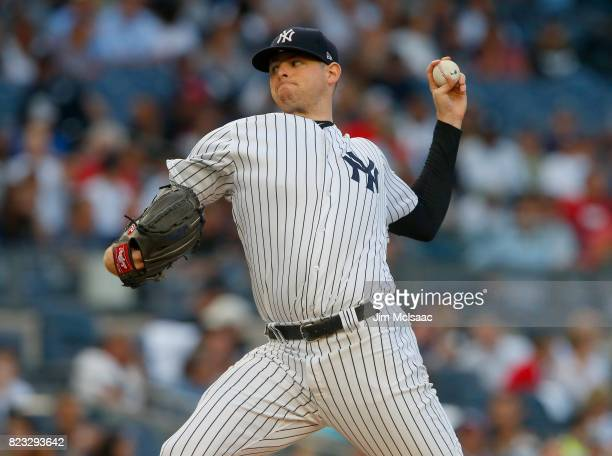 Jordan Montgomery of the New York Yankees in action against the Cincinnati Reds at Yankee Stadium on July 25 2017 in the Bronx borough of New York...
