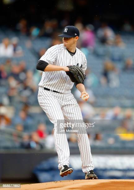 Jordan Montgomery of the New York Yankees in action against the Tampa Bay Rays at Yankee Stadium on April 12 2017 in the Bronx borough of New York...