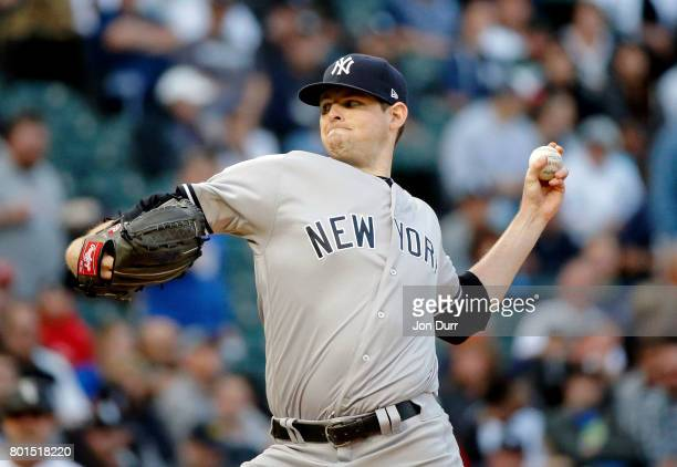 Jordan Montgomery of the New York Yankees pitches against the Chicago White Sox during the first inning at Guaranteed Rate Field on June 26 2017 in...